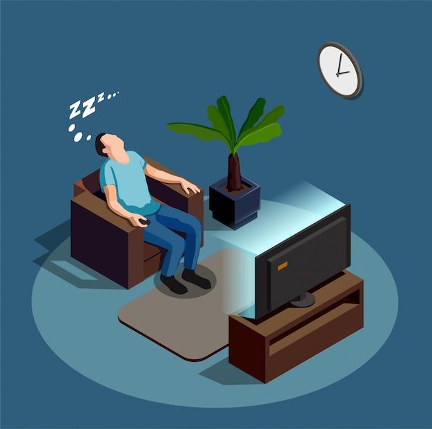 Slaap tijdens het kijken naar tv-compositie
