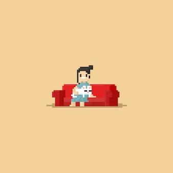 Slaap van de pixel de leuke kat op vrouwenlap Premium Vector