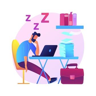 Slaapgebrek abstract concept illustratie. symptoom van slapeloosheid, slaapverlies, probleem van deprivatie, geestelijke gezondheid, oorzaak en behandeling, klinische diagnostiek, slapeloosheid.