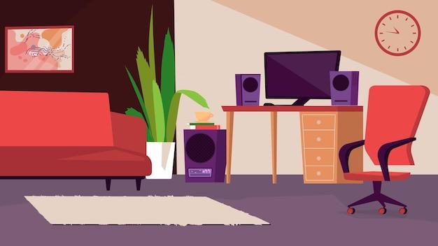 Slaapkamer en kantoor aan huis interieurconcept in platte cartoon design. bank, tafel en bureaublad, luidsprekers, stoel, tapijt en decor in de kamer. mannen appartement binnen. vector illustratie horizontale achtergrond