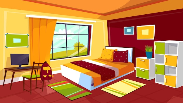 Slaapkamer illustratie van tiener meisje of jongen kamer interieur achtergrond.