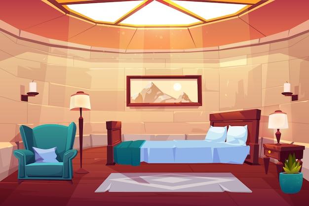Slaapkamer in kasteel of paleis.