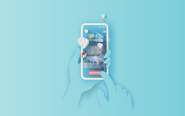 Slaapkamer in koffer smartphone hand concept