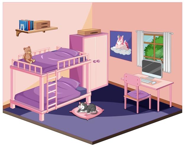 Slaapkamer in roze kleurenthema isometrisch