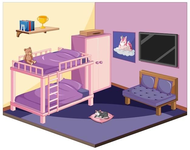 Slaapkamer in roze kleurenthema isometrisch Premium Vector