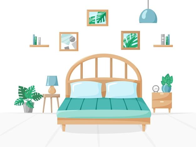 Slaapkamer in vlakke stijlillustratie met bedlampen kamerplanten in pottenboeken op plankenklok