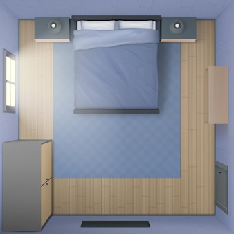 Slaapkamer interieur, bovenaanzicht