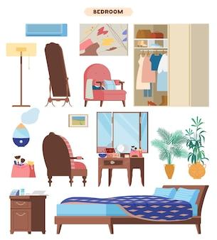 Slaapkamer interieur elementen flat set. houten meubels, bed, nachtkastje, kaptafel, fauteuil, kledingkast, make-uptas, vloerspiegel, conditioner, luchtbevochtiger, planten, schilderijen.