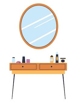 Slaapkamer interieur, geïsoleerde tafel met laden en cosmetische producten voor make-up. ronde spiegel, elegant appartement en luxe huis. verbetering van woning, vector in vlakke stijlillustratie
