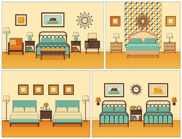 Slaapkamer interieur. hotelkamer in retro. illustratie.