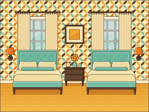 Slaapkamer interieur. hotelkamer met twee bedden en ramen. vintage-stijl