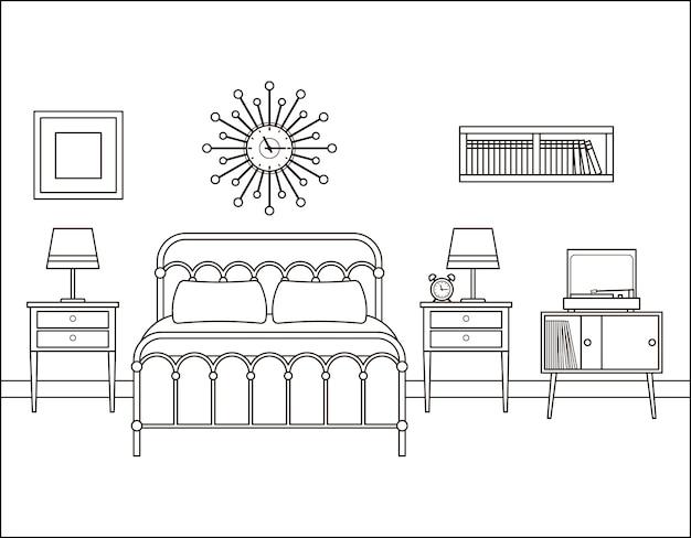 Slaapkamer interieur. hotelkamer met tweepersoonsbed. illustratie.