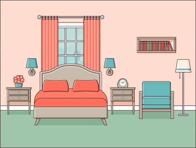 Slaapkamer interieur. hotelkamer. retro huisruimte in lijntekeningen plat ontwerp met bed, raam en fauteuil.