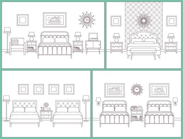 Slaapkamer interieur. hotelkamers met bedden.