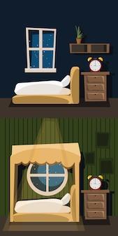 Slaapkamer interieur ingesteld vectorillustratie