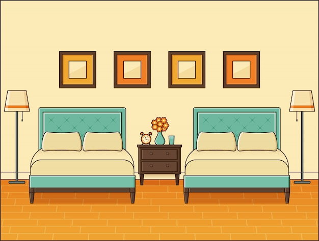 Slaapkamer interieur met twee bedden. hotelkamer. thuis retro ruimte in plat ontwerp.