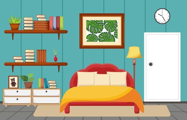 Slaapkamer interieur slaap kamer platte ontwerp illustratie
