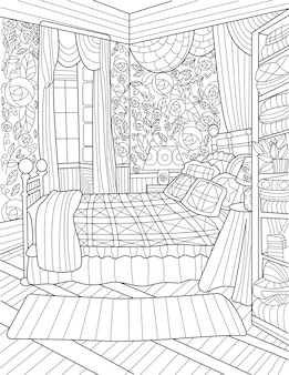 Slaapkamer kleurloze lijntekening groot bed open ramen bijzettafel lange gordijnen slaapkamer met