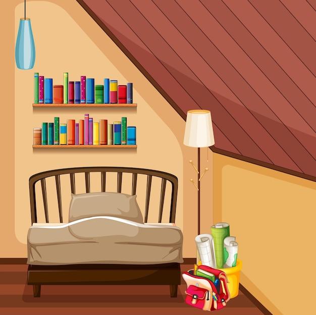 Slaapkamer met bed en boekenplanken