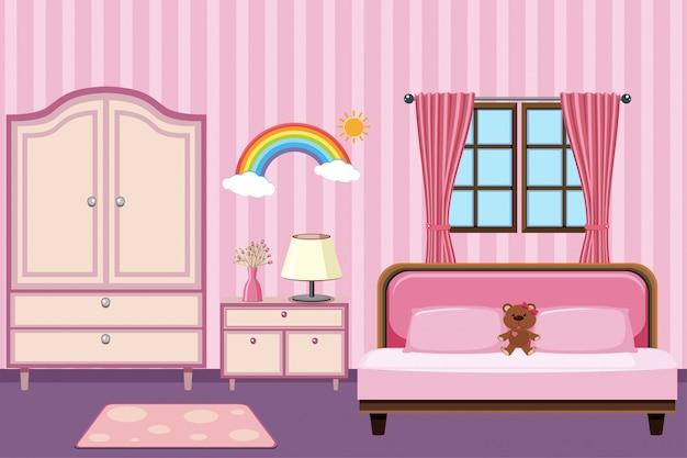 Slaapkamer met roze meubels