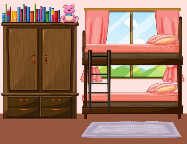 Slaapkamer met stapelbed en kast