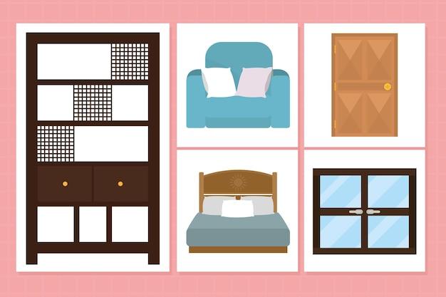 Slaapkamer meubilair pictogram decorontwerp
