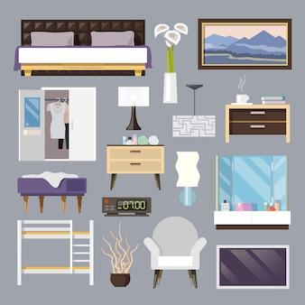 Slaapkamer meubilair plat pictogrammen instellen