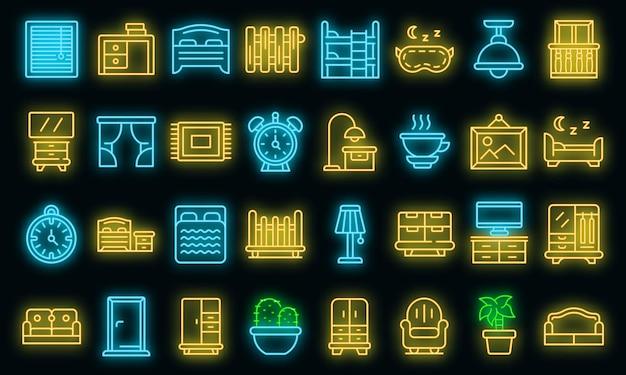 Slaapkamer pictogrammen instellen. overzicht set slaapkamer vector iconen neon kleur op zwart