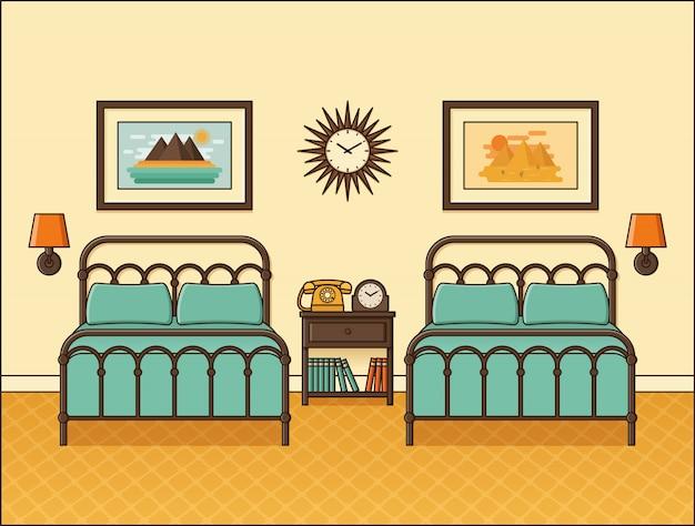 Slaapkamer retro interieur. hotelkamer in flat. illustratie.