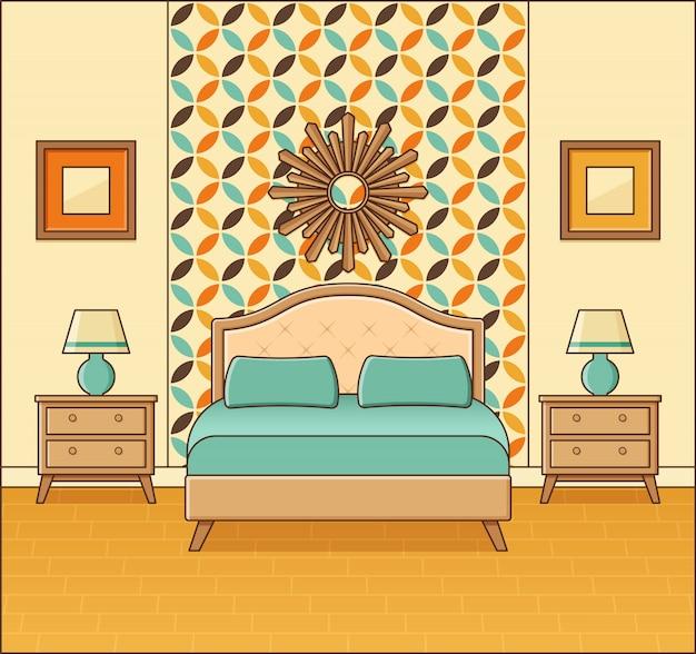 Slaapkamer retro interieur. hotelkamer in plat design. illustratie.