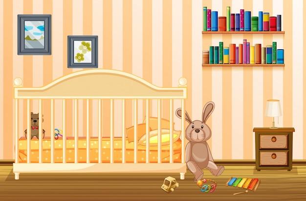 Slaapkamer scã¨ne met babycot en kind items