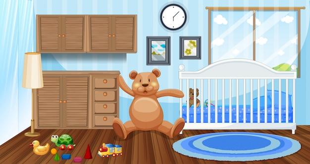 Slaapkamer scène met witte babybedje en poppen