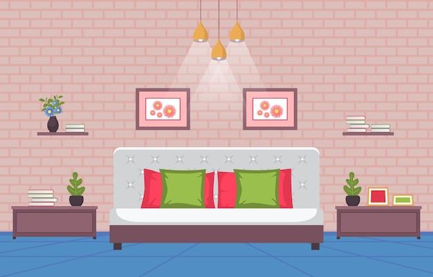 Slaapkamer slaapkamer bed interieur modern huis illustratie