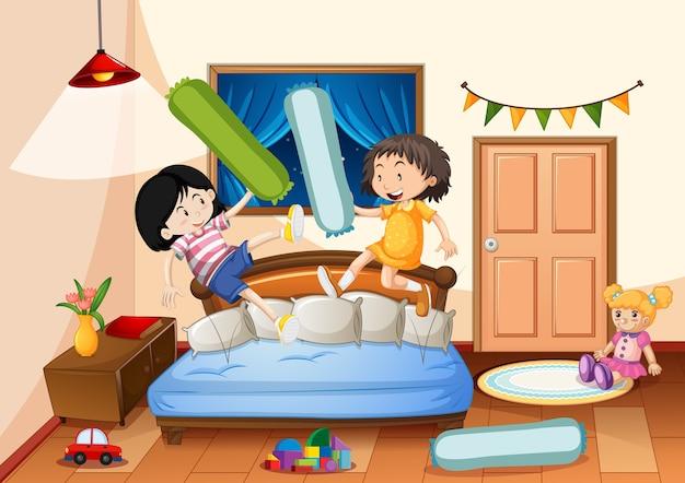 Slaapkamer van meisje met veel speelgoed met twee meisjes