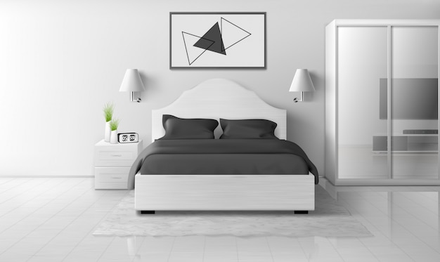 Slaapkamerbinnenland in zwart-wit kleuren, modern huis