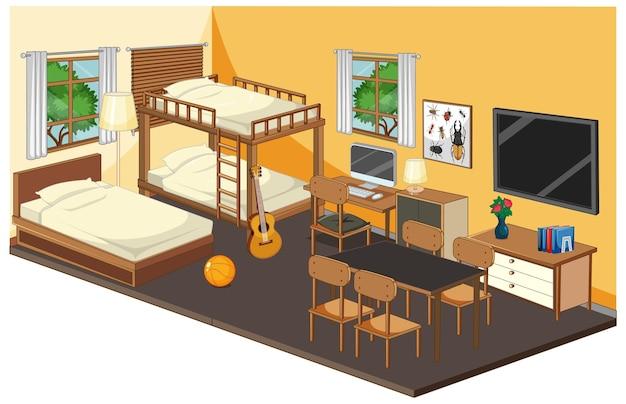 Slaapkamerbinnenland met meubilair in geel thema