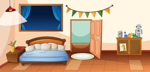 Slaapkamerbinnenland met meubilair