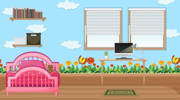 Slaapkamerinterieur met meubels voor kinderen