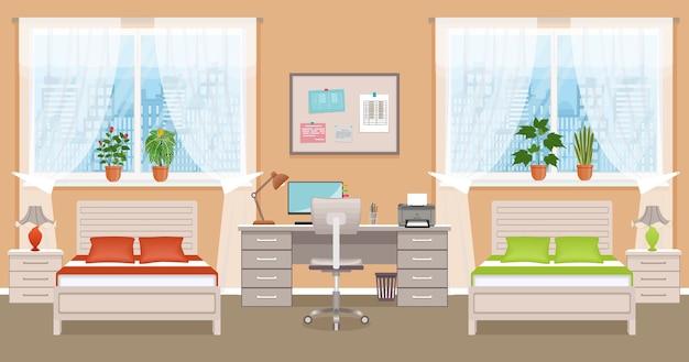 Slaapkamerinterieur met twee bedden, tafel, desktopcomputer en raam. jongen en meisje slaapkamer.