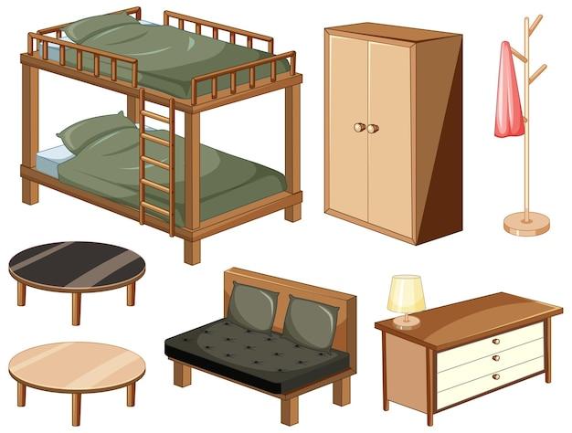 Slaapkamermeubels objecten geïsoleerd op een witte achtergrond