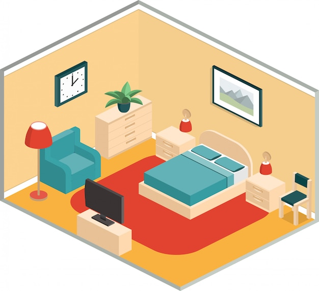 Slaapkamerontwerp met meubels en tv in retro kleuren. isometrische interieur.