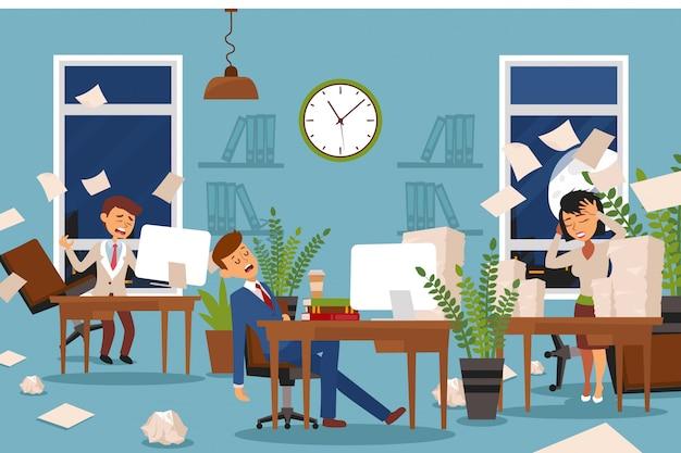 Slaapproblemen voor kantoormedewerkers die overuren bleven, illustratie. moe mannen, karaktervrouwen aan het werk, kerel valt in slaap.