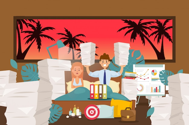 Slaapproblemen, workaholic negeert rustillustratie. man overgedragen werk naar huis, veel papieren, documenten in cartoon slaapkamer.