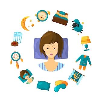 Slaapstoornis concept illustratie met cartoon slaap elementen rond nonsleeping vrouw persoon