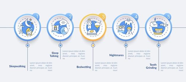 Slaapstoornis typen infographic sjabloon. insomnia symptomen presentatie-elementen.