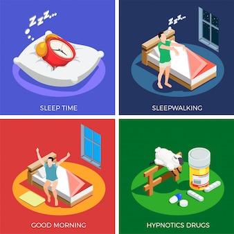 Slaaptijd isometrisch ontwerpconcept