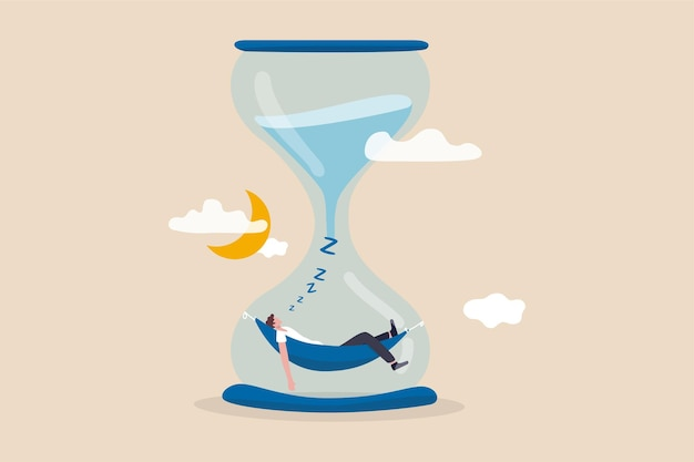 Slaaptijd of bedtijd voor de mens om te ontspannen en te herstellen van uitgeprobeerd en uitgeput