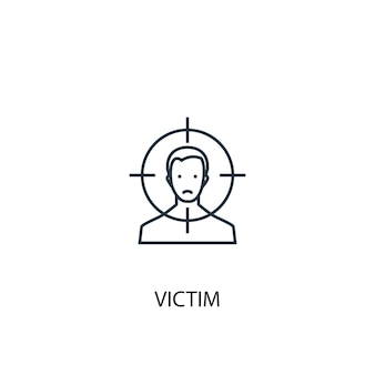Slachtoffer concept lijn pictogram. eenvoudige elementenillustratie. slachtoffer overzicht symbool conceptontwerp. kan worden gebruikt voor web- en mobiele ui/ux