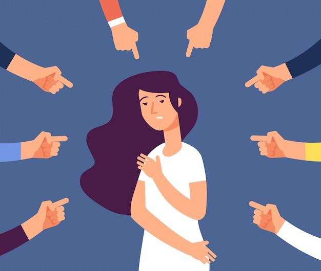 Slachtoffer vrouwen. depressief meisje in schaamte en handen met wijzende vinger. schuldige, beschaamde vrouw en schuld in de samenleving