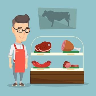 Slager die vers vlees in een slagerij aanbiedt.